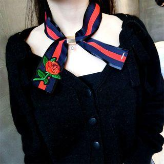 Rose Embroidered Ribbon Necklace