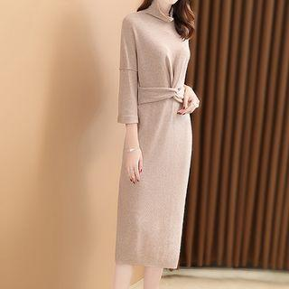 Turtleneck 3/4-sleeve Knitted Dress