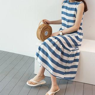 Sleeveless Stripe Ruffle-hem Long Dress