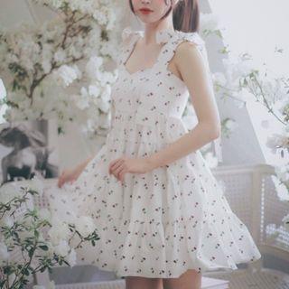 Sleeveless Cherry Printed Dress