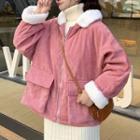 Hooded Fluffy Corduroy Zip Jacket