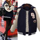 Hooded Fleece Baseball Jacket