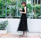 Detachable Lace Strap Mesh Maxi Skirt