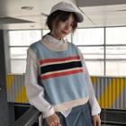 Striped Panel Knit Vest As Shown In Figure - One Size