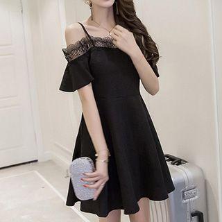 Elbow-sleeve Off Shoulder A-line Dress
