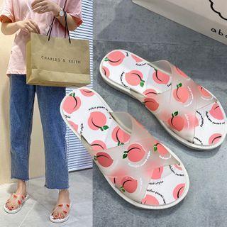 Peach Print Pvc Strap Slippers