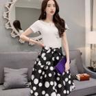 Set: Short-sleeve T-shirt + Dotted Bowed Midi Skirt