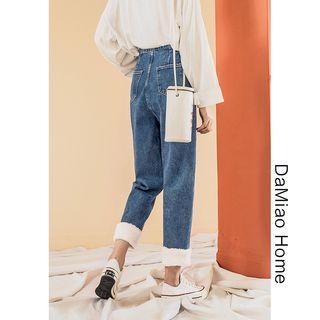 Fleece-hem Harem Jeans