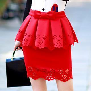 Bowed Peplum Perforated Skirt