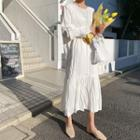 Ruffle-hem Crinkled Dress White - One Size