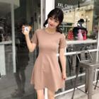 Short-sleeve A-line Plain Dress