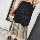 Two-tone Pleated Maxi Skirt