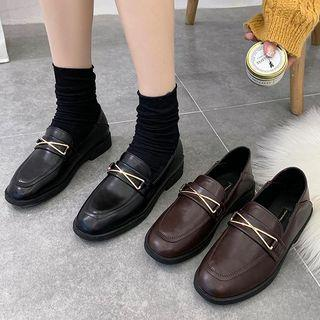 Faux Leather Metal Bar Loafers