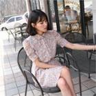 Elbow-sleeve Floral Print Dress