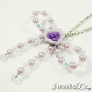 Sweet Purple Rose Beaded Ribbon Necklace