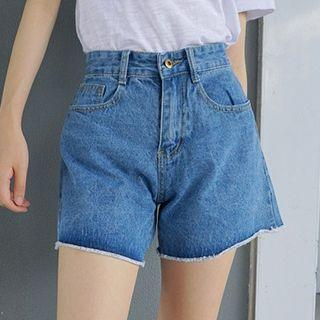 High-waist Cuffed Denim Shorts