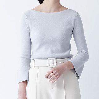 Plain Bell-sleeve Sweater