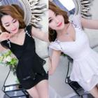 Embellished Sleeveless Peplum Dress