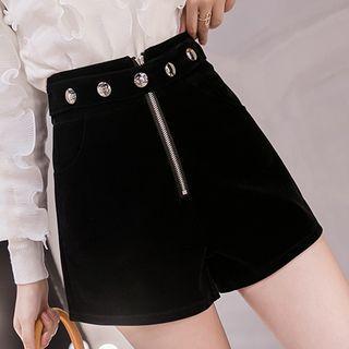 Front-zip Velvet Shorts