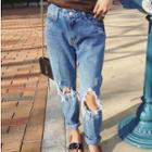 Washed Cut-out Jeans