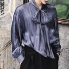 Puff Sleeve Bow-accent Shirt