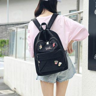 Plain Backpack With Brooch
