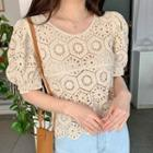 Pointelle Short-sleeve Top Almond - One Size