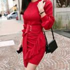 Ruffle Sheath Sweater Dress
