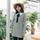 Bow Accent Collared Long Pullover