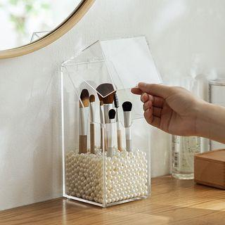 Acrylic Makeup Brush Organizer With Faux Pearl