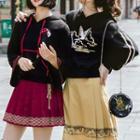 Bell-sleeve Embroidered Hoodie / Printed Pleated Skirt