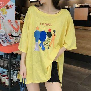 Print Loose-fit Elbow-sleeve T-shirt Yellow - One Size