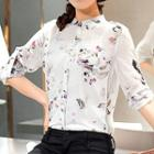 Floral Print Stand Collar Chiffon Blouse