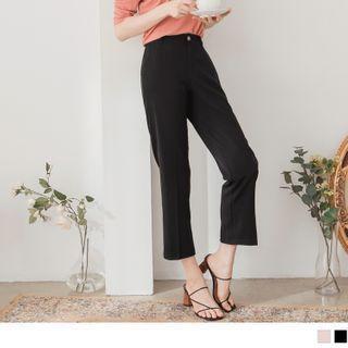 High-waist Plain Cropped Straight Leg Pants
