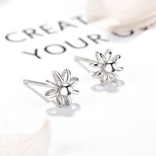 925 Sterling Silver Sunflower Stud Earrings 925 Silver - One Size