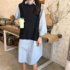 Plain Loose-fit Shirtdress / Plain Knit Vest