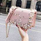 Flower Embroidered Chain Strap Faux Leather Crossbody Bag