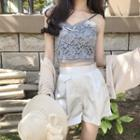 Lace Cropped Camisole Top / Wide Leg Shorts