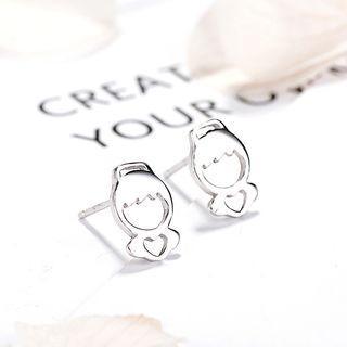 925 Sterling Silver Angel Stud Earrings 925 Silver - One Size