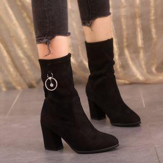 Rhinestone Kitten-heel Pointy-toe Short Boots