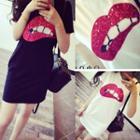 Sequined Lip Short-sleeve T-shirt Dress