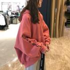 Letter Printed Hooded Pullover Pink - One Size