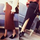 Split Hem Midi Knit Pencil Skirt