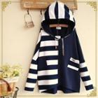 Striped Panel Hooded Pullover
