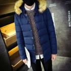 Faux Fur Trim Hood Padded Coat
