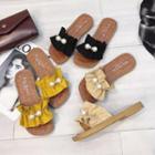 Embellished Frilled Slide Sandals