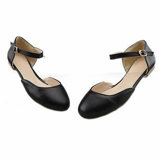 Ankle Strap Faux Leather Flats