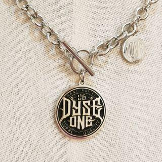 Alloy Lettering Pendant Necklace Black Letter - Silver - One Size