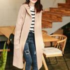 Long Hooded Knit Coat
