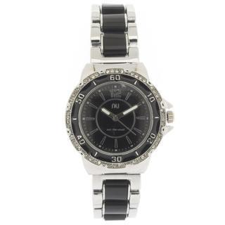 Crystal Covered Wrist Watch Silver & Black - One Size